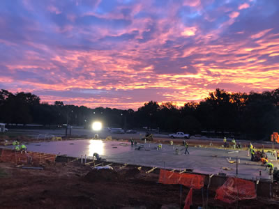 Construction crews at Rusk State Hospital begin at sunup in this photo from September 2020.