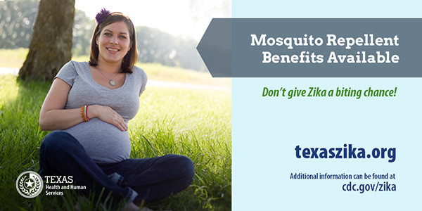 Mosquito repellent benefits available. Visit TexasZika.org