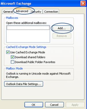 Microsoft Exchange Screen