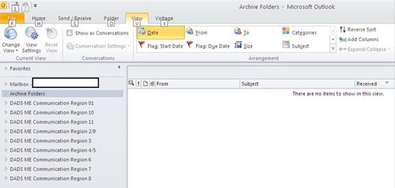 Mailbox Folder Screen